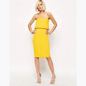 LAVISH ALICE Yellow Bandeau Bodycon Midi Dress 6
